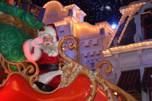 "St. Nick closes ""MIckey's Once Upon A Christmas Parade"" at The Magic Kingdom at Walt Disney World."