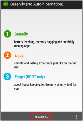 Preview of Greenify interface.