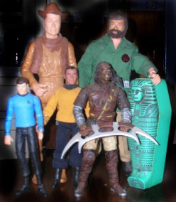 Back to front, left to right: 1960s Johnny West, 1970s G.I. Joe Adventure Team, 2000s Dr. McCoy, 1970s Mego Capt. Kirk, and a c. 1990s-2000s Klingon. Note: action figure villains and aliens are harder to come by than main characters.