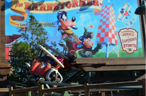 Goofy's Barnstormer is one of the new attractions at the recently expanded Fantasyland in The Magic Kingdom at Walt Disney World.