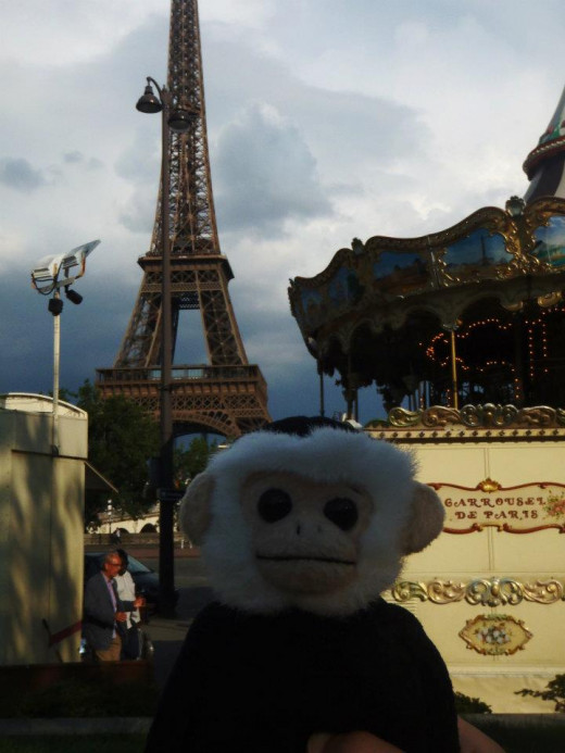 Mooch visits the Eiffel Tower.