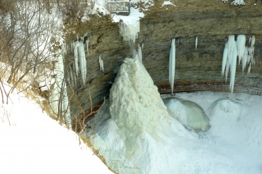 At the Devil's Punch Bowl, an Ice Volcano had formed around the waterfall and behind this ice is an Ice Cave as seen in the next photo.