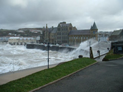Old College, Aberystwyth, on a stormy day