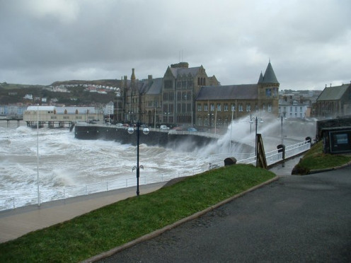 Old College, Aberystwyth, on a stormy day