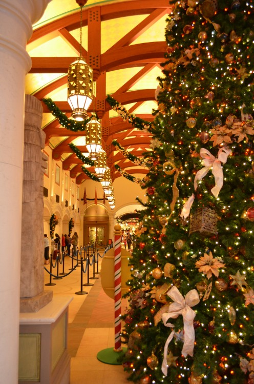 The lobby of the Coronado Springs Resort at Walt Disney World is festively decorated in November with Christmas-holiday décor.