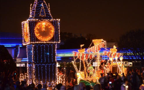 The Tower of London and Captain Hook's ship come to life during Disney's Main Street Electrical Parade on Thanksgiving night at Walt Disney World's The Magic Kingdom.
