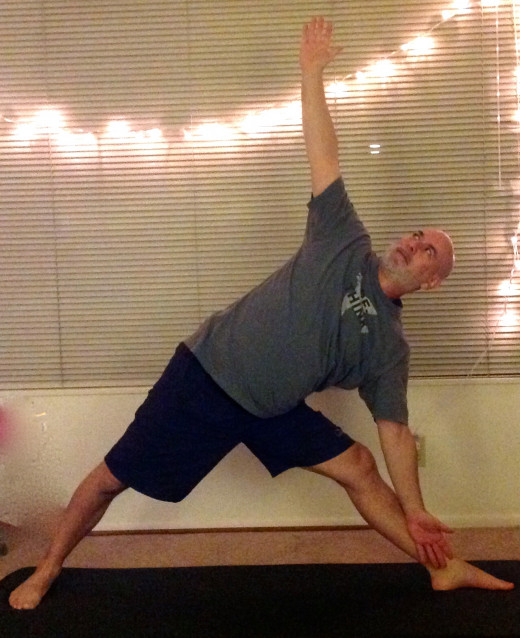 Triangle pose.  Opening up my heart in forgiveness.