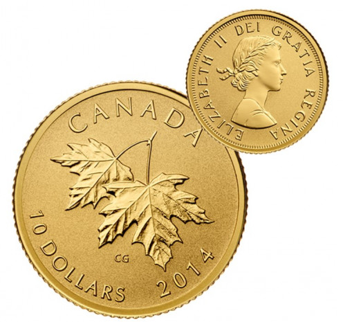 Pure Gold Coin Maple Leaves with Queen Elizabeth II Effigy from 1953.