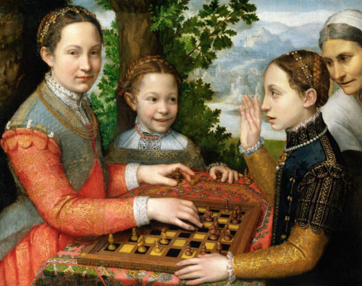 The Chess Game (Portrait of the artist's sisters playing chess) (1555) by Sofonisba Anguissola