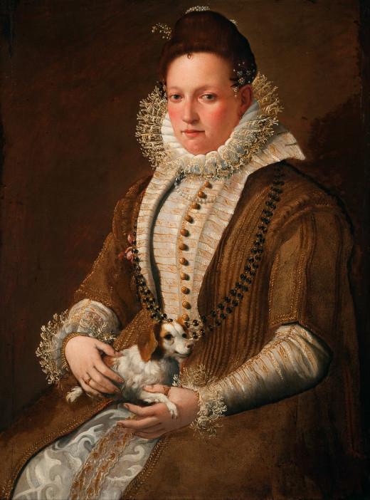 Portrait of a Lady with a Dog by Lavinia Fontana (1552-1614)
