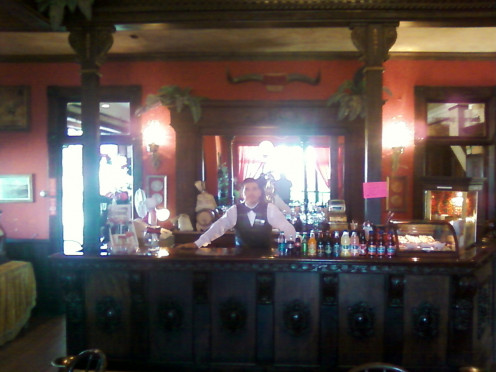 The bar tender at the Longhorn Saloon