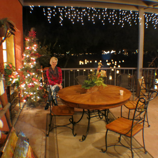 Patio of Store in Tubac, AZ decked out for Christmas