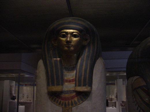 Egyptian Coffin of Harmose made of wood, gesso, paint, gold.
