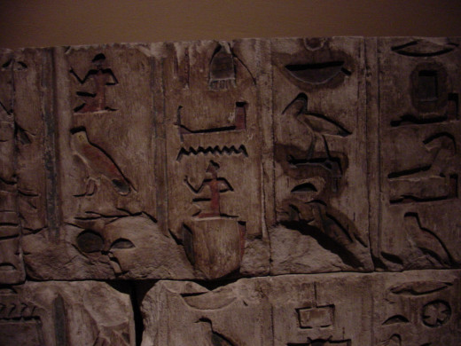 "Hieroglyphs are known to be the ""writing system"" used in Ancient Egypt."