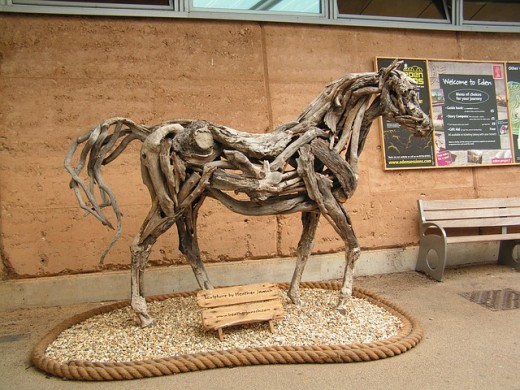 Horse constructed of local driftwood.