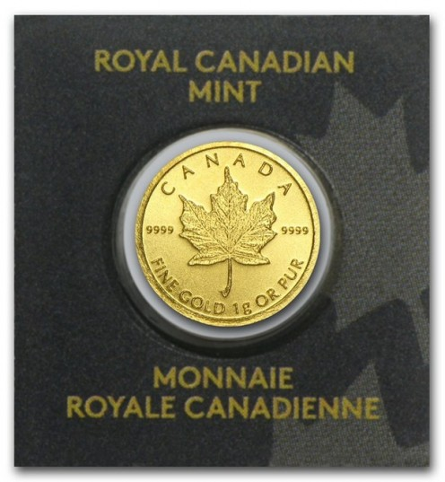 Single MapleGram Gold Coin.  Each coin is 1 gram of pure gold minted at the Royal Canadian Mint.