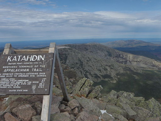 The famous sign on top of Mt. Katahdin.