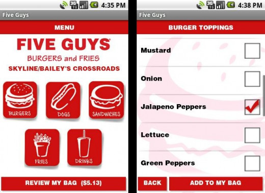 Five guys mobile app to order food for pick up