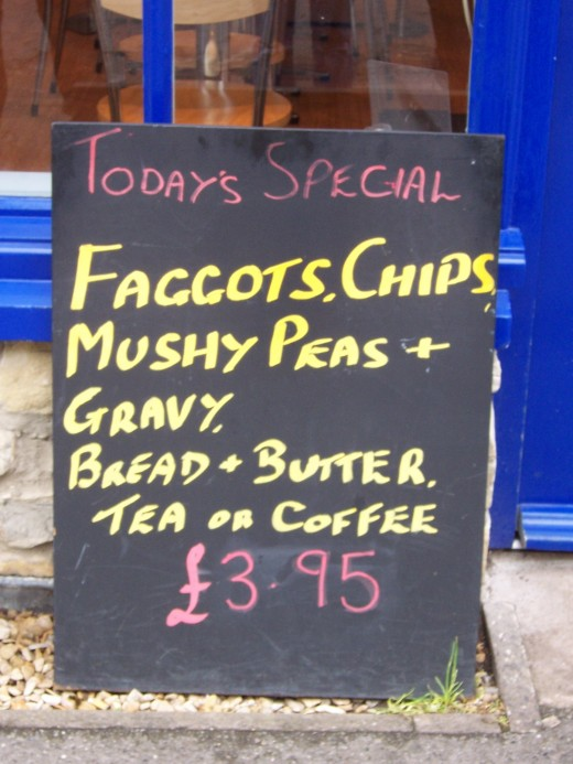 A menu selection in England that you would NOT find in the States!