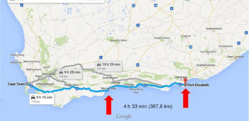 From Mossel Bay to Port Elizabeth, South Africa @ Google Maps