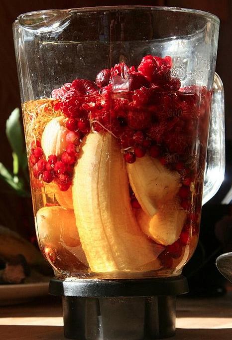 Fruit smoothie ingredients before being blended.