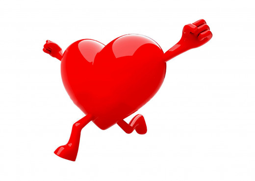 colorful red heart running