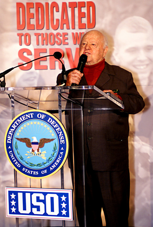 Mickey at a ceremony honoring the USO