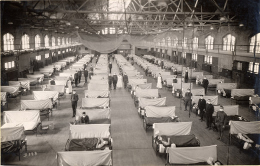 Iowa State University gymnasium served as a Flu Ward in 1919.