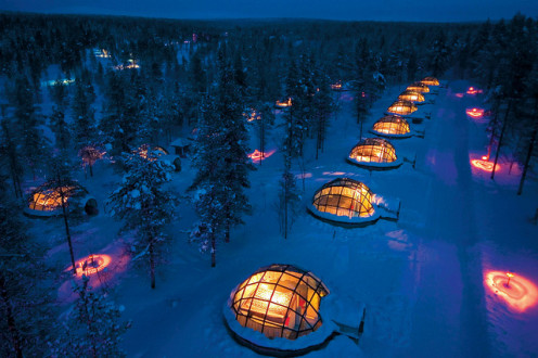 Igloos of Hotel Kakslauttanen at night near Arctic circle.