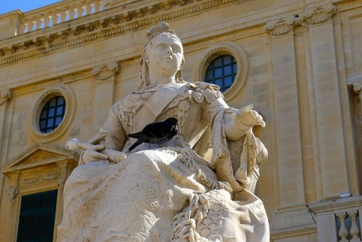 Statue of Queen Victoria.  One of the world's most famous monarchs, Victoria ruled over the British Empire for most of the 19th Century.  As well as being queen, she also used the title of additional title of Empress of India