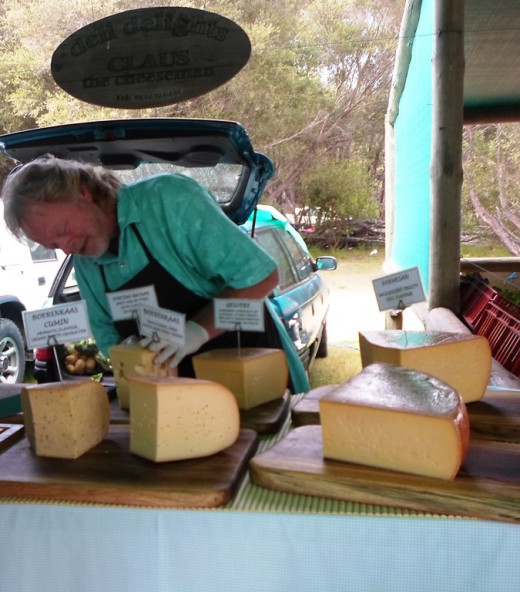 Home made cheese for sale at The Wild Oats Farmer's Market, Sedgefield, South Africa