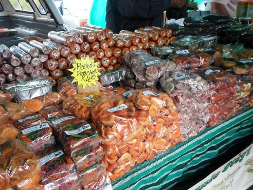 Dried fruit for sale at the Wild Oats Farmer's Market, Sedgefield, South Africa