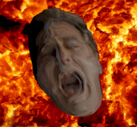 Scary?  It shouldn't be.  It's just a photo-shopped image of Al Pacino from Godfather 3 (with a little chrome effect) over an image of magma from a volcano.  It's as fake as Hell is.