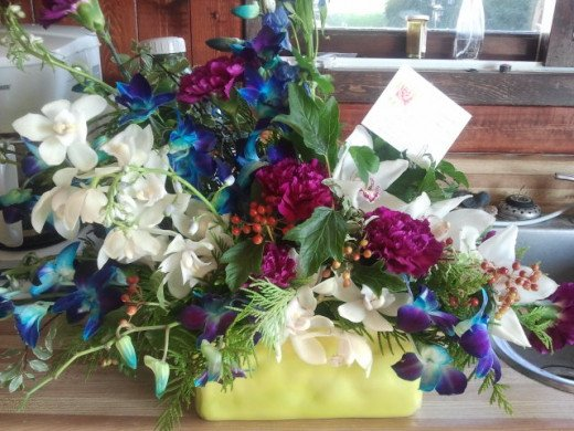 A floral arrangement we received from family that could not attend the funeral.