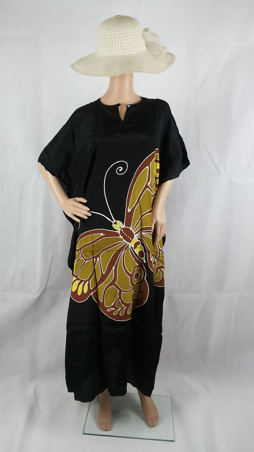 Elegant black with butterfly motives.