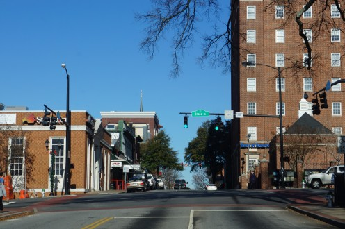 Downtown Athens, Georgia at the corner of Broad Street and Lumpkin Avenue by the University of Georgia.