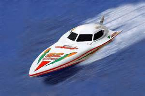 Two types of speed boat races occur. One is a manned boat and the other is a radio controlled speed boat race.