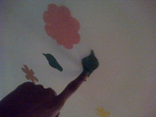 Applying a leaf stencil to the Ceiling