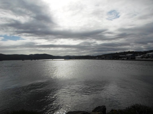 Knysna Lagoon on a cloudy day, South Africa
