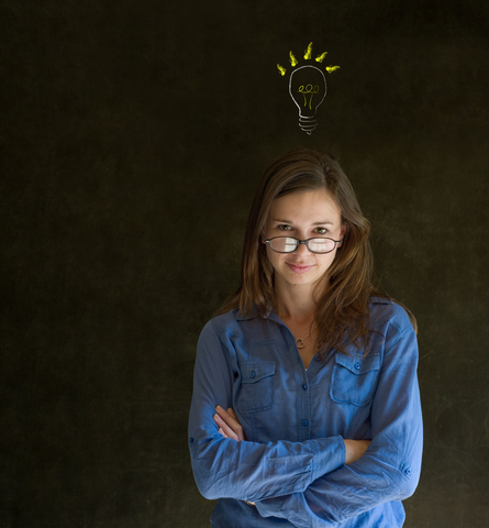 Bright Idea Lightbulb Thinking Business Woman Photo