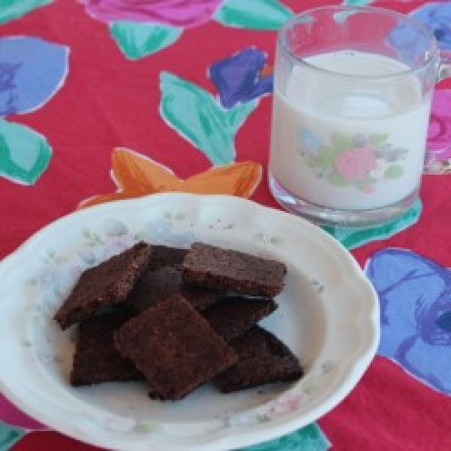 Chocolate Snaps with cold Almond Milk