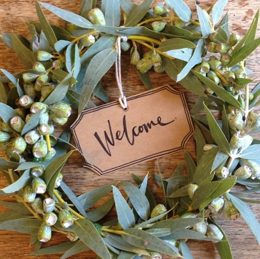 A lovely Australian wreath with gumnuts and eucalyptus