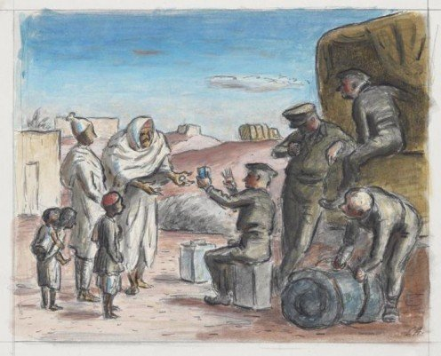 "This is an interesting piece of art called, ""Arabs Bartering Eggs for Tea near Sirte.""  1942 - It looks like some people are bartering with soldiers."