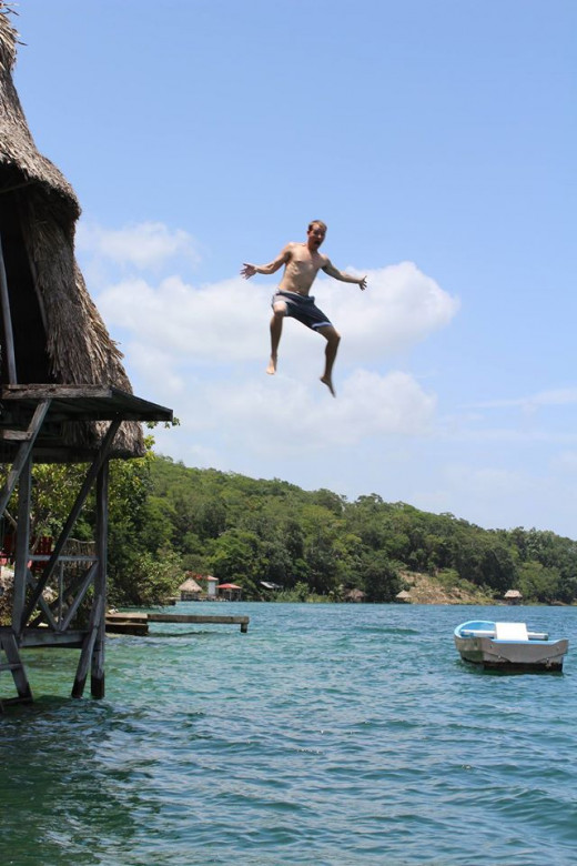 Jumping into Lago Peten Itza!