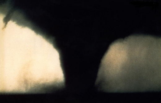 In the photo is a tornado in Seymour Texas in 1987.