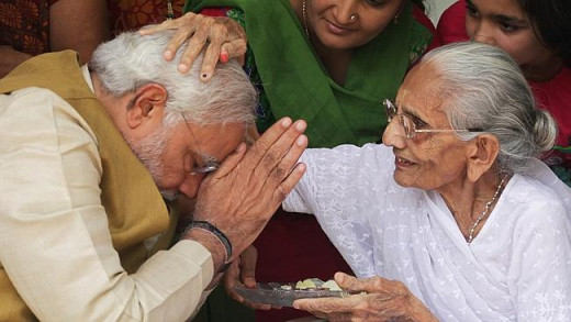 Modi Taking Blessing of His Mother