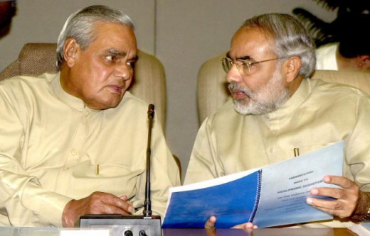 Modi with Previous Prime Minister of India Atal Bihari Vajpayee