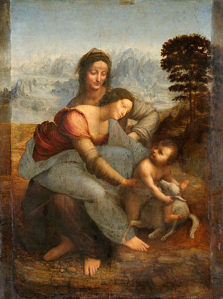 Leonardo da Vinci, Madonna with Child, St. Anne and the Lambkin (a. 1510), Paris Louvre - The painting probably derives from the lost carton that Rapahel might have seen in Florence