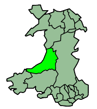 Map of Ceredigion, Wales
