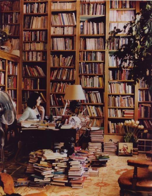 Nigella's home library.